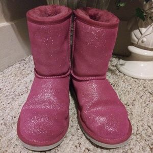 EUC Ugg Pink Sparkly Classic Short Boot